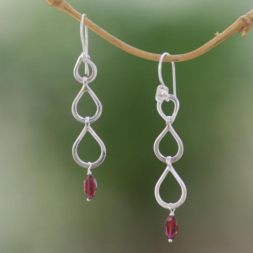 Sterling Silver Raindrop Faceted Red Garnet Dangle Earrings 'Berkah Rain'