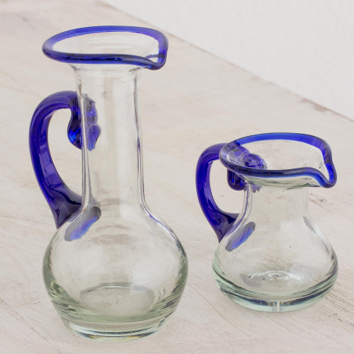 Handblown Small Recycled Glass Pitchers Pair 'Clear Seas'