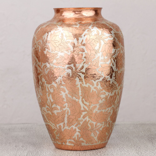 Handcrafted Floral Copper and Silver Vase from Mexico 'Shining Glory'