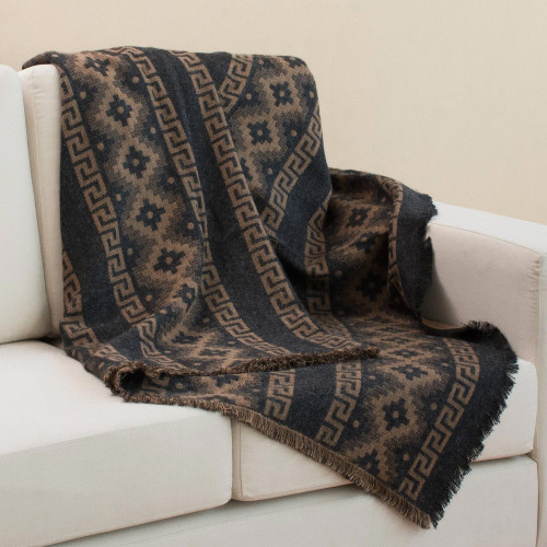 Alpaca Blend Throw with Andean Crosses in Tan and Black 'Andean Cross in Tan'