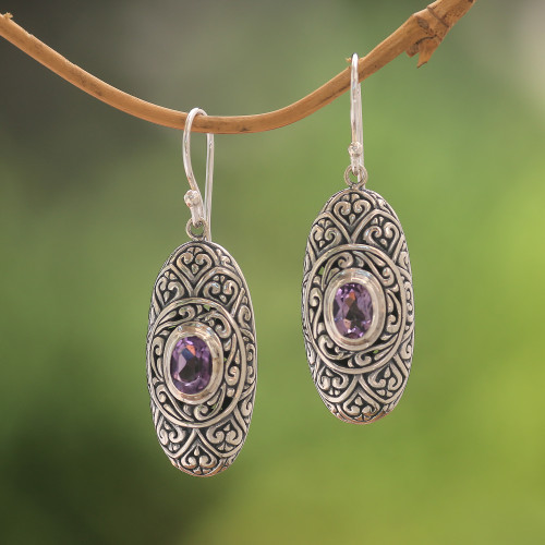 Amethyst and Sterling Silver Dangle Earrings from Bali 'My Protector in Purple'