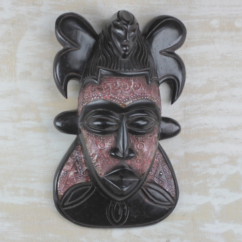 Sese Wood and Aluminum African Mask from Ghana 'Bold King'