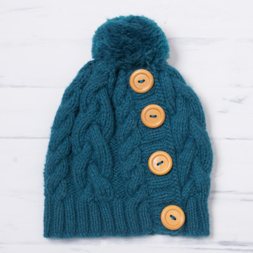 Teal Alpaca Blend Buttons and Pompom Cabled Hand Knit Cap 'Cheery Hug in Turquoise'
