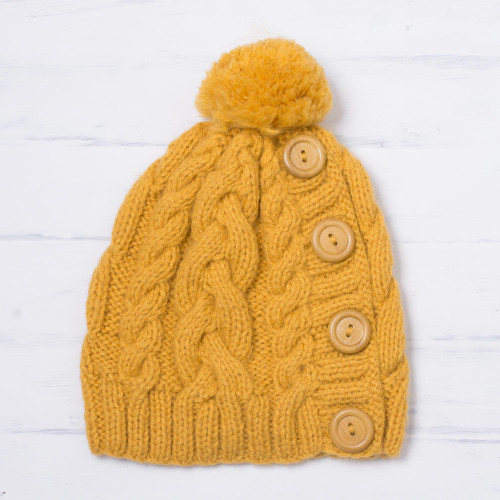 Yellow Alpaca Blend Buttons and Pompom Cabled Hand Knit Cap 'Cheery Hug in Yellow'