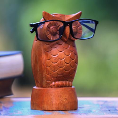 Owl-Shaped Jempinis Wood Eyeglasses Holder from Bali 'Wise Owl'