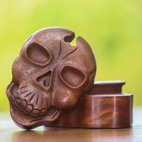 Suar Wood Skull Puzzle Box Crafted in Bali 'Skull Keeper'