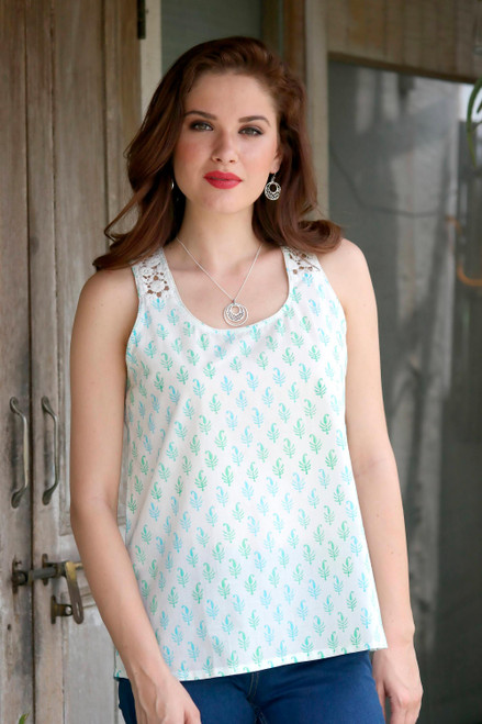 Block-Printed White Cotton Blouse from India 'Summer Desire'