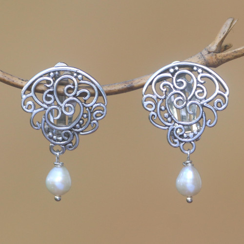 Cultured Pearl Clip-On Dangle Earrings from Bali 'Tangled Light'