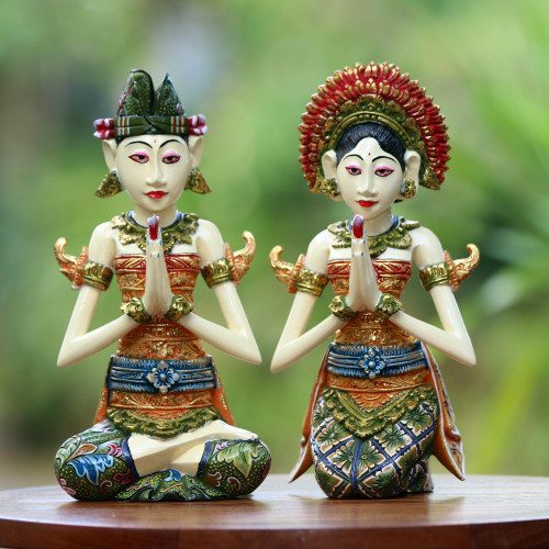 Balinese Bride and Groom Handcrafted Wood Sculptures Pair 'Balinese Bride and Groom'