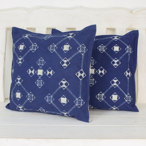 Batik Cotton Cushion Covers with Geometric Motifs Pair 'Geometric Mood'