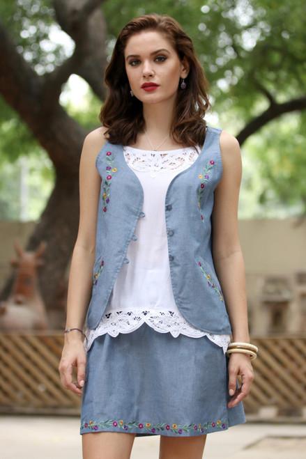 Handcrafted Blue Cotton Floral Embroidered Vest with Pockets 'Spring Celebration'