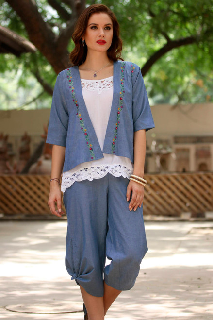 Handmade Blue Cotton Stretch Pair of Casual Capri Pants 'Casual Blue Comfort'