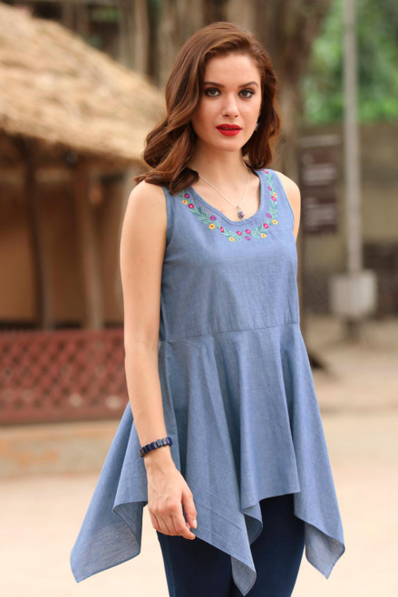 Blue Cotton Floral Embroidered Peplum Sleeveless Blouse 'Floral Adornment'