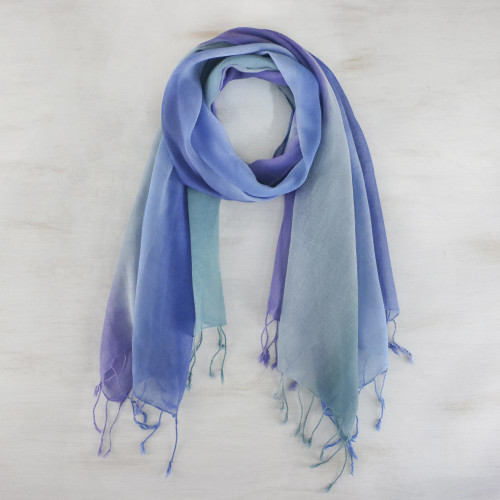 Handwoven Cotton Scarves in Cool Tones from Thailand Pair 'Summer Morning'