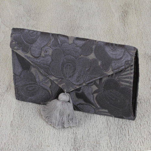 Floral Embroidered Cotton Clutch in Grey from Mexico 'Grey Petals'
