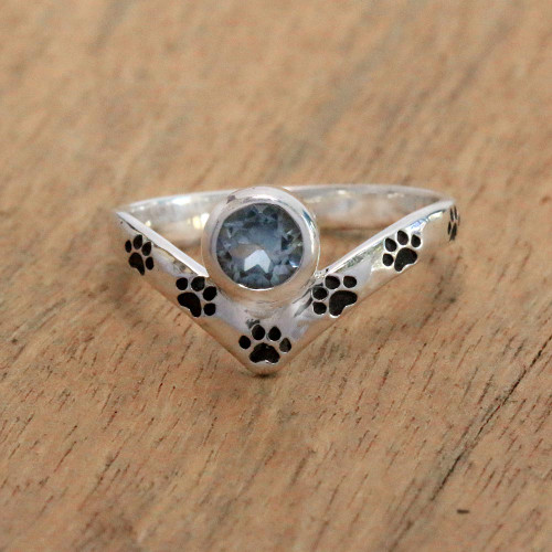 Paw Print Blue Topaz Cocktail Ring from Bali 'Puppy Chevron'