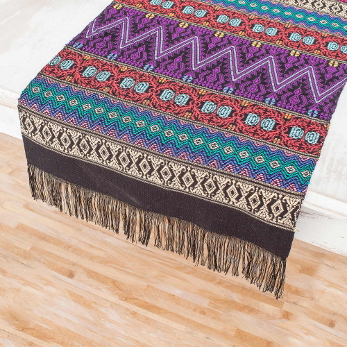 Handwoven Cotton Table Runner from Guatemala 'Resplendent Tradition'