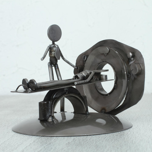 Upcycled Metal Auto Part Sculpture from Mexico 'Day at the Doctor'