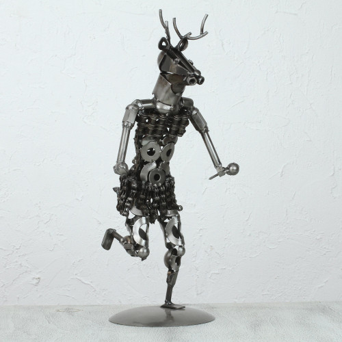Upcycled Metal Auto Part Sculpture from Mexico 'Deer Dance'