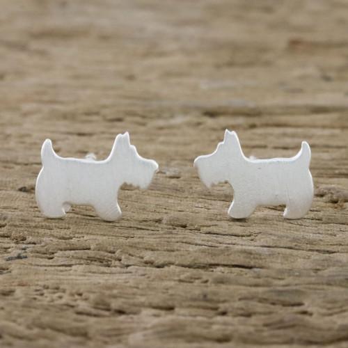 Sterling Silver Scottish Terrier Stud Earrings from Thailand 'Scottish Terrier'