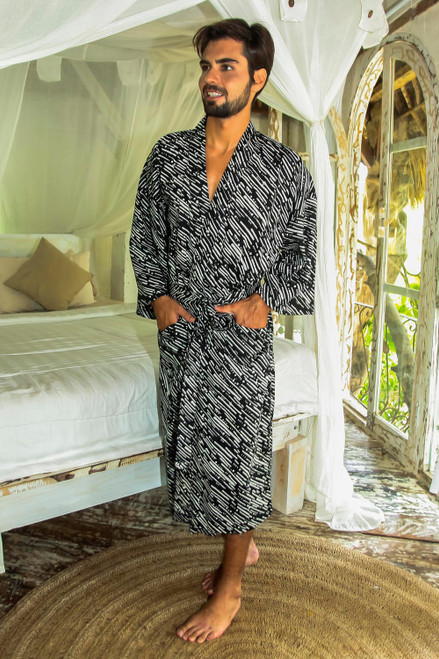 Men's Cotton Robe in Onyx and Eggshell from Bali 'Onyx River'