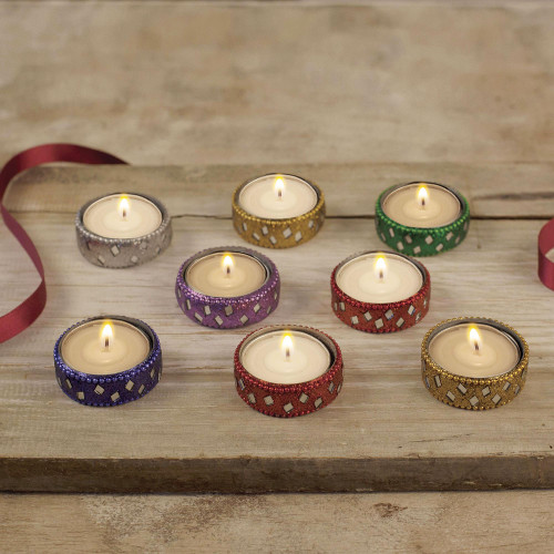 Sparkling Assorted Colors Resin-Coated Tea Lights Set of 8 'Festive Colors'