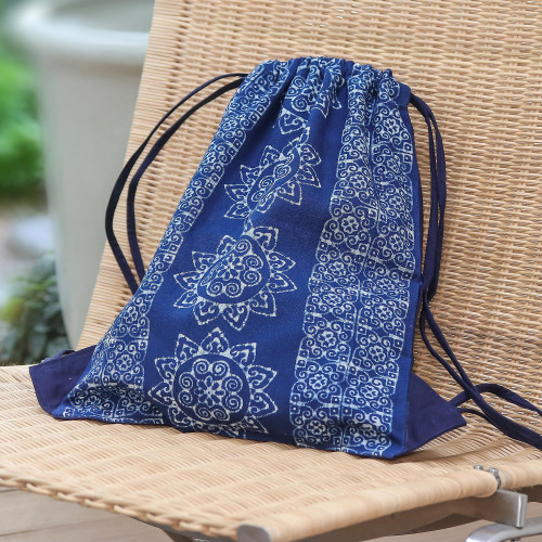 Indigo Blue Batik Cotton Drawstring Backpack from Thailand 'Swirling Suns'