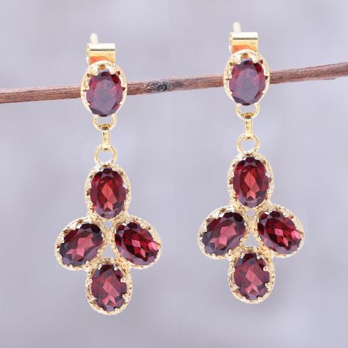 22k Gold Plated 10-Carat Garnet Dangle Earrings from India 'Regal Dance'