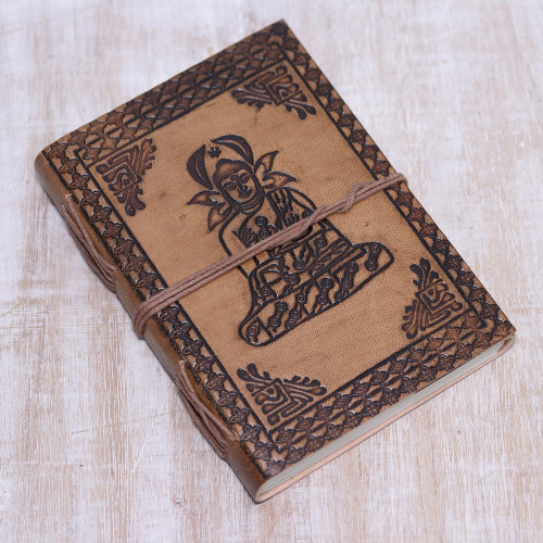 Handcrafted Seated Buddha Embossed Brown Leather Journal 'Buddha Reflections'