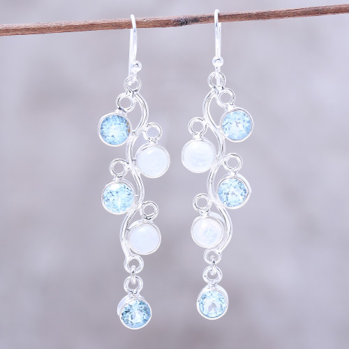 Blue Topaz and Rainbow Moonstone Earrings from India 'Morning Climber'