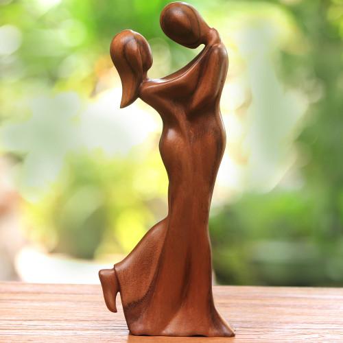 Romantic Suar Wood Sculpture from Bali 'Romantic Embrace'