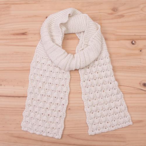 Hand Knit Antique White 100 Alpaca Multi-Textured Scarf 'Milky River'