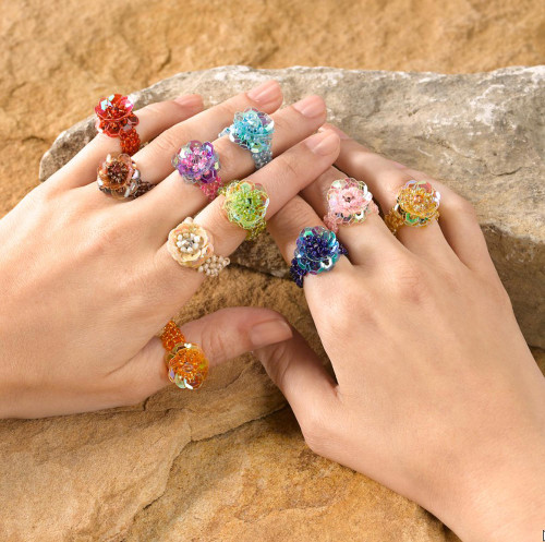 Floral Glass Beaded Cocktail Stretch Rings Set of 10 'Javanese Flora'