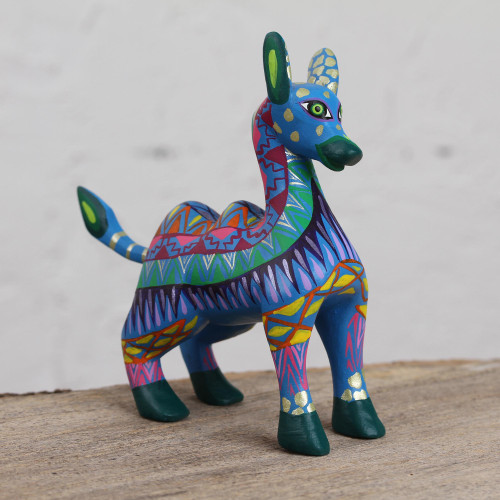 Colorful Wood Alebrije Camel Figurine from Mexico 'Vibrant Camel'
