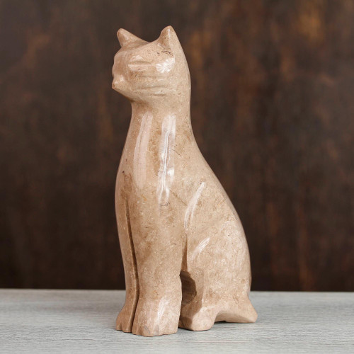 Marble Cat Sculpture in Beige from Mexico 'Cafe Cat'