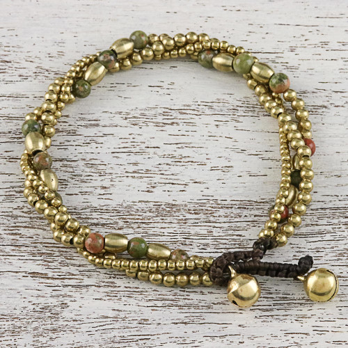 Unakite and Brass Beaded Torsade Bracelet from Thailand 'Musical Love'