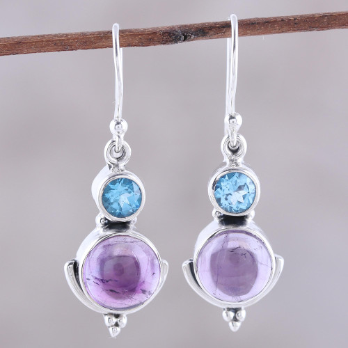 Amethyst and Blue Topaz Dangle Earrings from India 'Lively Harmony'