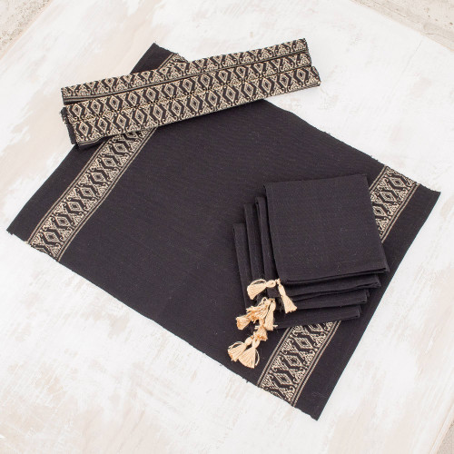 Cotton Table Linen Set for 4 in Black from Guatemala 'Beige Moon'