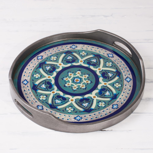Steel-Tone Reverse-Painted Glass Tray from Peru 'Floral Intricacy in Steel'
