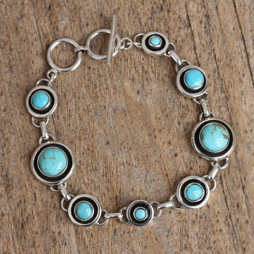 Circular Turquoise Link Bracelet from Mexico 'Turquoise Eternity'