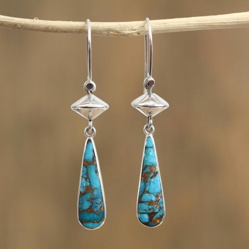 Composite Amazonite Dangle Earrings from Mexico 'River Gleam'