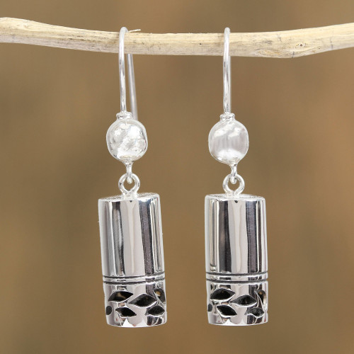 Cylindrical Sterling Silver Dangle Earrings from Mexico 'Mysterious Form'