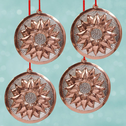 Sterling Silver Accent Copper Flower Ornaments Set of 4 'Christmas Eve Flowers'