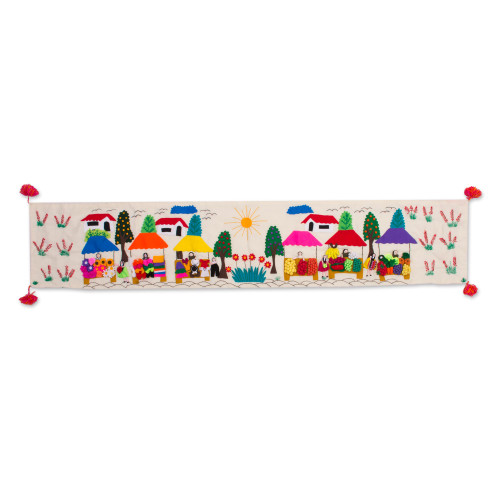 Cultural Cotton Arpillera Table Runner from Peru 'Andean Market'