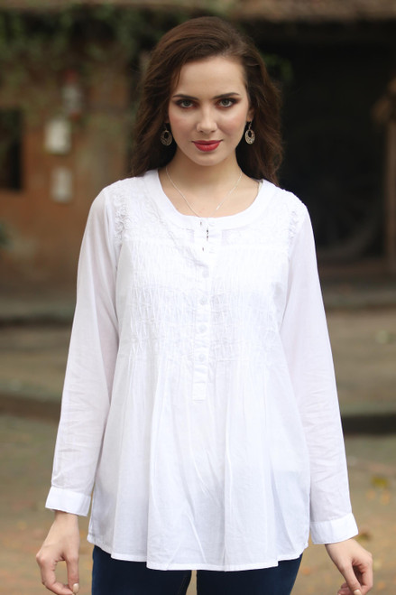 Long Sleeve Floral White Blouse Hand Embroidered in India 'Classic Snowy White'
