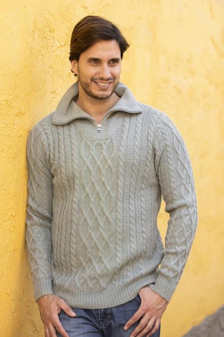 Men's Knit 100 Alpaca Pullover in Laurel from Peru 'Laurel Knit'