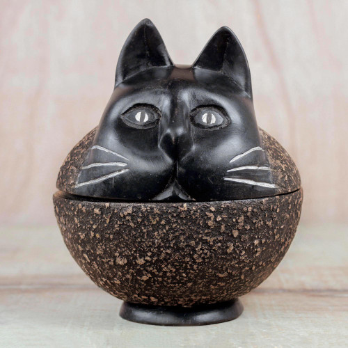 Sese Wood Decorative Jar of a Cat from Ghana 'Charming Cat'