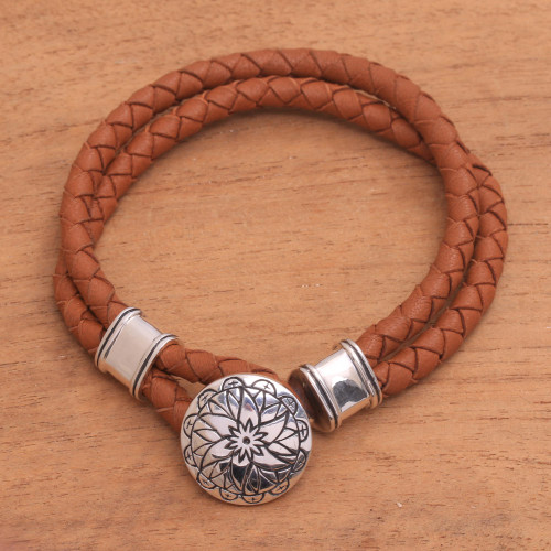 Leather Accent Sterling Silver Bracelet with Lotus Pendant 'Lotus'