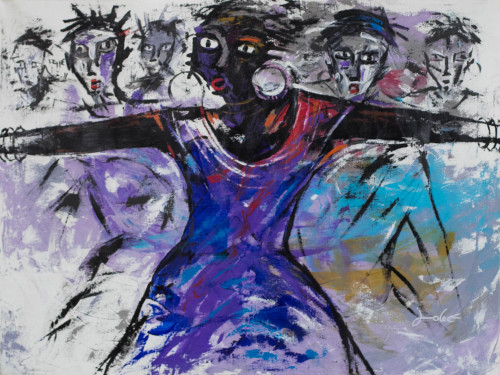 Signed Expressionist Painting of Women from Ghana 2017 'Freedom II'