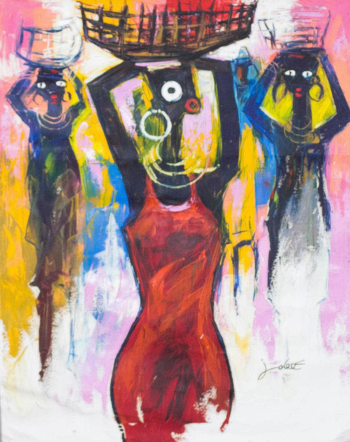Signed Expressionist Painting of Women from Ghana 2016 'Virtuous Woman'